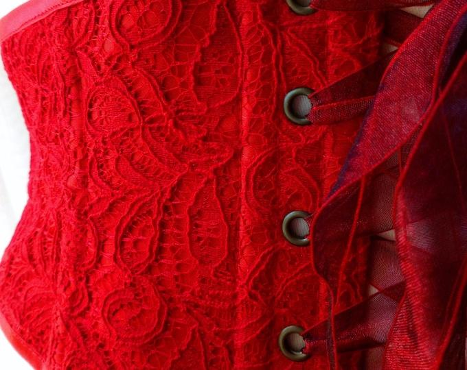 Cherry red waspie corset belt, Red lace waist belt for wedding dress, Ruby sexy bridal lingerie, Lace up BDSM waist cinch belt, Boudoir belt