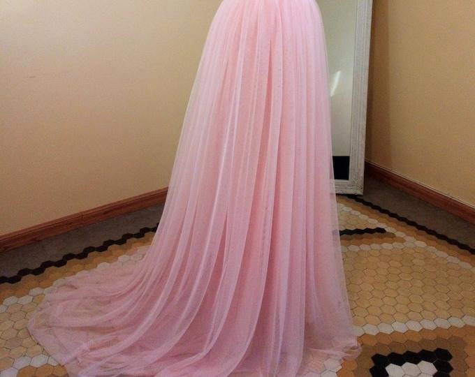 Beach Romantic Wedding Tulle Maxi Skirt, Fantasy Boho Wedding Dress, Chic Bohemian Floor Length Skirt, Country Pink Bridal, Bridesmaid Skirt