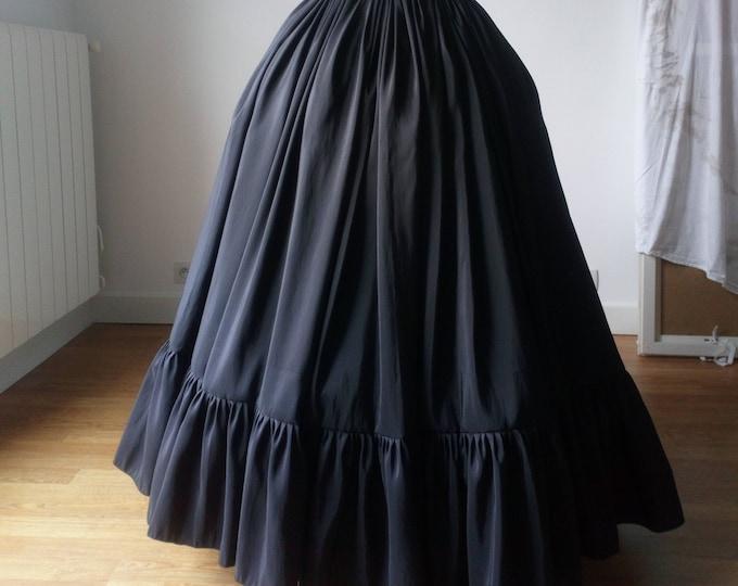 Black victorian ball skirt, Taffeta long skirt, Taffeta ball skirt, Full victorian skirt, Black vampire ball skirt, Gothic countess wedding