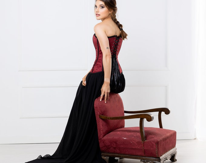 Vampiric black and red wedding gown perfect reception dress for bride in halloween, Dark elegant romantic bridal dress for spooky engagement