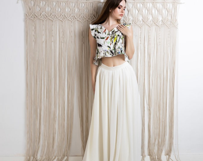 Ivory and green floral wedding dress boho, Crop top and skirt set for bride hippie, Two piece bridal dress beach tropical destination elope