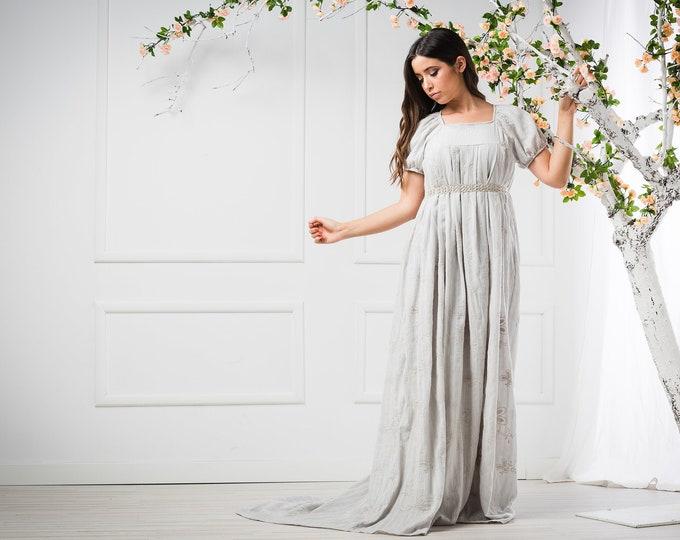 Viking Wedding Dress, Grey Wedding Gown, Celtic Bridal Dress, Cotton Bridal Dress, Pagan Wedding Dress, Renaissance Dress,Pre Raphaelite