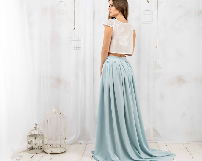 White and blue bridal separates for fairy boho elopement, Minimalist fantasy wedding dress for elven inspired bride, Ready to ship wedding