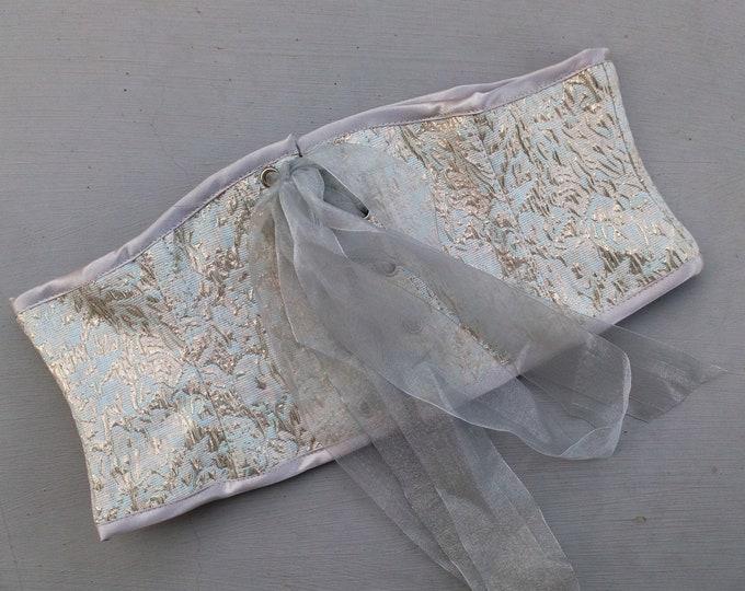 Elven corset belt for wedding dress, Brocade waspie corset belt, Pagan fairy waist cincher, Celtic pagan obi belt Viking fantasy bridal belt