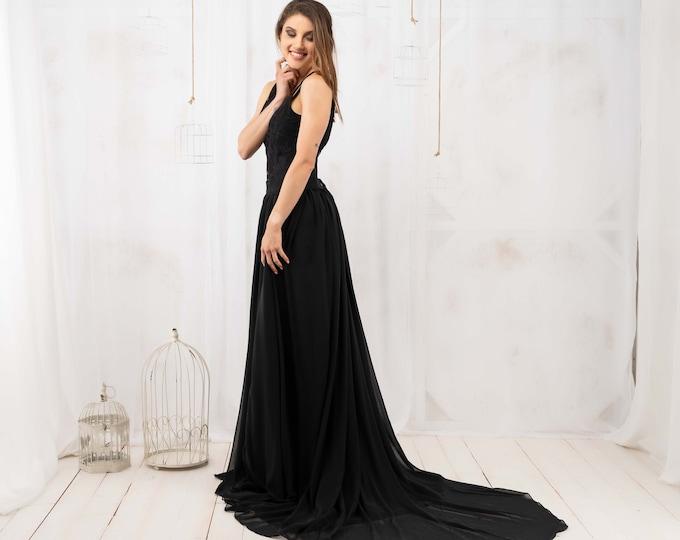 Minimalist black wedding dress, Simple black bridal gown with train, Alternative wedding gown, Open back two pieces bridal dress, Halloween