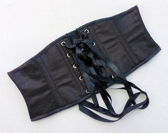 Black Corset Belt, Black Waspie Corset, Obi Belt, Waist Cincher, Gothic Corset Belt, Steampunk Belt, Burlesque Corset Belt,Pagan Corset Belt