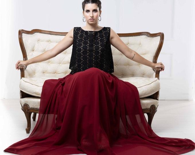 Dark boho bridal dress for romantic fall wedding, Black and burgundy goth bride elopement dress, Alternative gothic reception gown, Haizea