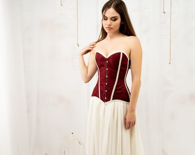 Ivory and burgundy wedding dress, Lace up medieval dress for bride, Soft and floaty bridal gown, Mythical wedding gown, Fantasy larp costume
