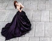 Gothic wedding dress - Dark princess wedding dress - Purple corset wedding dress - Black wedding dress - Victorian - Steampunk - Goth bride
