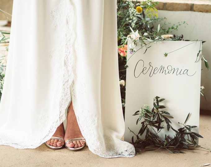Linen bridal skirt with lace, High low wedding skirt, Rustic skirt for destination wedding, Celtic boho hand fasting, Bohemian separates