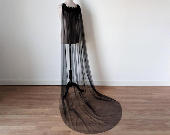 Black Wedding Cloak, Black Gothic Bridal Cloak, Black Witch Long Cape, Witch Wedding Cape, Vampire Cape, Black Long Veil, Medieval Cape