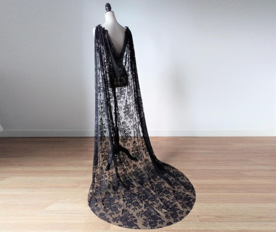 Black Bridal Cape, Black Lace Cloak, Gothic Cosplay Costume, Black Witch Cloak, Gothic Long Cape, Vampire Cloak, Renaissance Costume