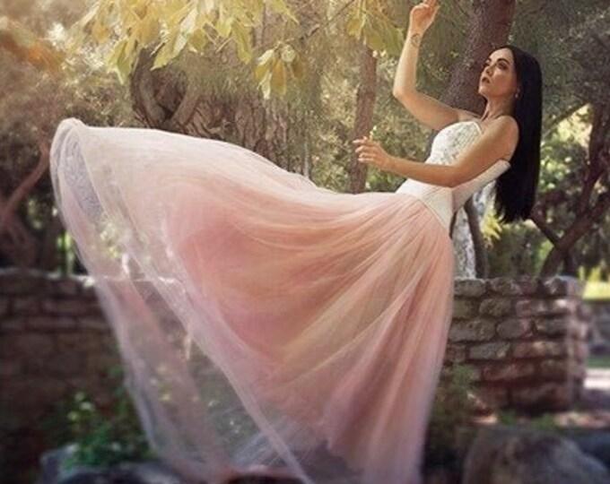 Pink tulle bridal skirt for fantasy wedding dress, Apricot fairy romantic wedding skirt, Fae princes pink costume skirt, Ready to ship skirt