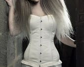 Steampunk wedding - Elegant ivory silk satin modern wedding corset - Alternative wedding dress - Romantic wedding - Gothic wedding