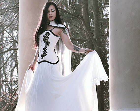 Gothic Wedding Dress, Black And White Wedding Gown, Wedding Cloak, Silk Wedding Skirt, Black Lace Corset Top, Vampire Dress, Medieval Dress