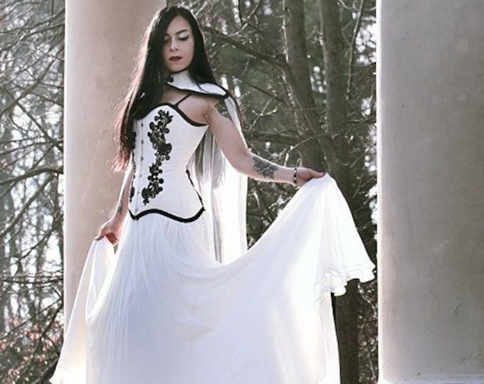 Gothic Wedding Dress, Black And White Wedding Gown, Wedding Cloak, Silk Wedding Skirt, Black Lace Corset Top, Vampire Dress, Medieval Dress