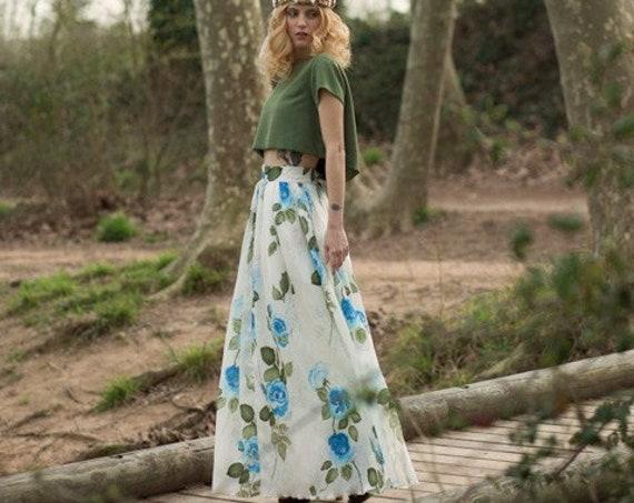 Floral silk flare maxi skirt for women perfect bridesmaid skirt or boho wedding skirt great bridal separates