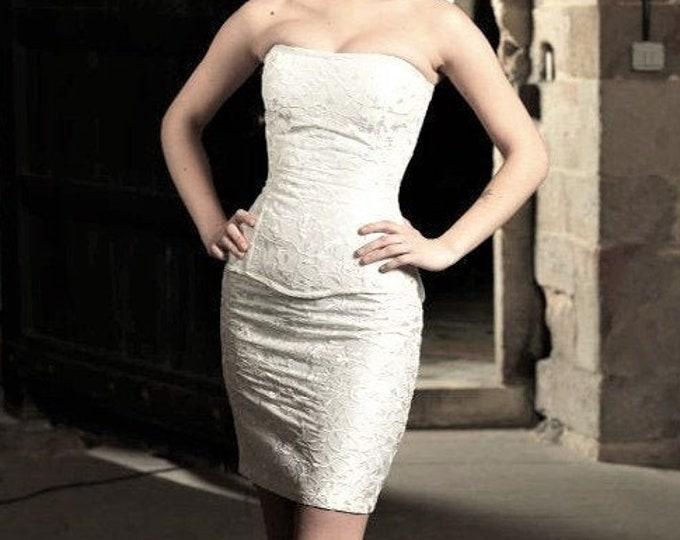 Short Wedding Dress, Steampunk Wedding Dress, Alternative Wedding Dress, Silk Short Bridal Dress, Steampunk Fantasy, Wedding Dress Short