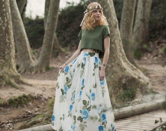 Floral Fairy Skirt, Floral Maxi Skirt, Summer Maxi Skirt, Floral Wedding Skirt, Floral Silk Skirt, Boho Bridal Skirt, Hippie Wedding,
