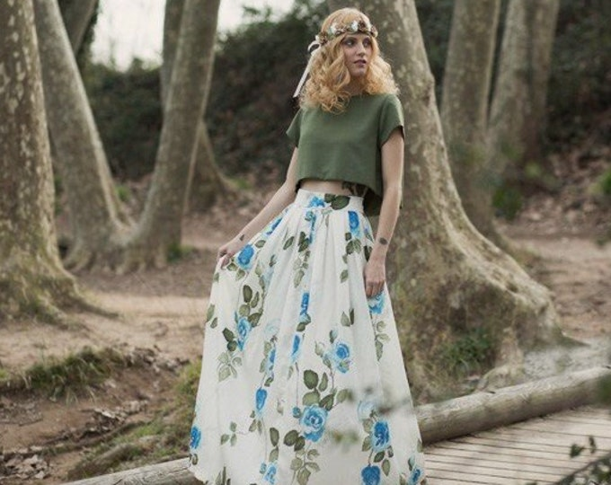 Floral Wedding Skirt, Floral Wedding Dress, Boho Wedding Skirt, Chic Boho Bridal Separate, Bohemian Wedding, Hippie Wedding Flowers Skirt
