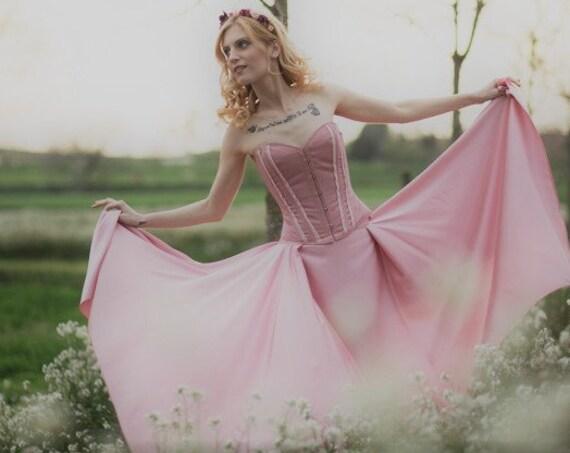 Pink Satin Skirt, Faerie Skirt, Bridesmaid Skirt, Fairytale Wedding, Bridesmaid Separates, Wedding Skirt, Asymmetric Skirt, Alternative