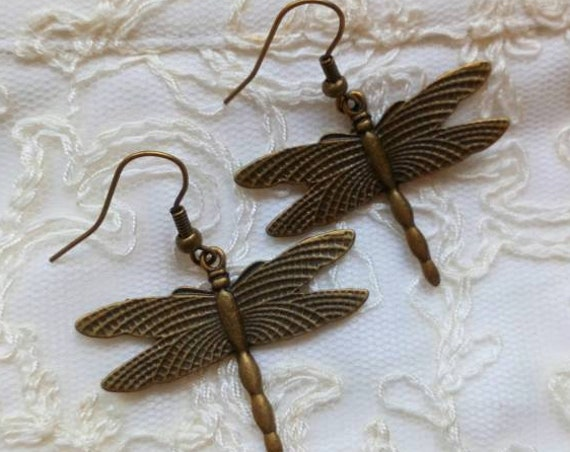 Dragonfly Dangle Earrings, Steampunk Earrings, Gothic Earrings, Vintage Style Jewelry, Antique Bronze Earrings, Birthday Gift Accessories