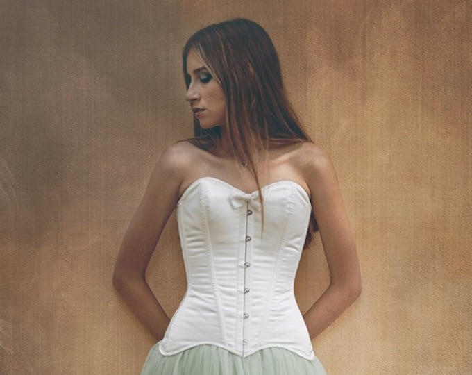 Steampunk Wedding Corset, Ivory Satin Overbust Corset, Bridal Corset Top, Overbust Corset, Wedding Top, Bridal Separates, Wedding Bodice