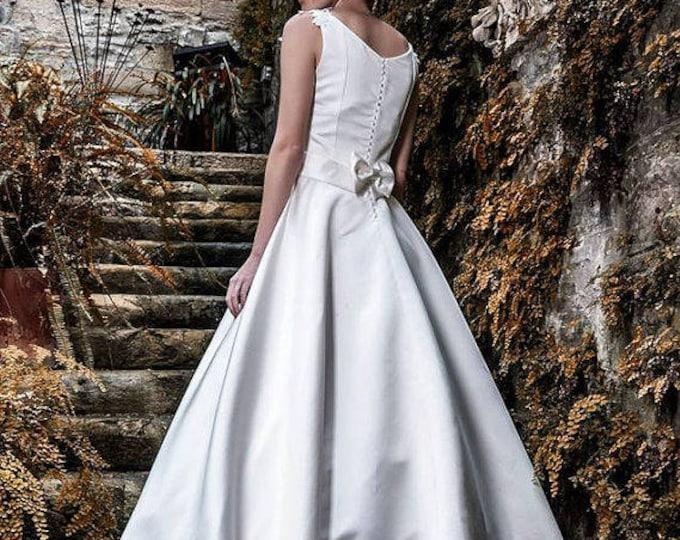 Ivory Satin Wedding Dress, Classic Wedding Gown, Long Train Bridal Dress, Romantic Wedding Gown, Princess Wedding Dress, Satin Ball Dress