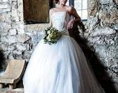 Steampunk wedding dress - Fantasy wedding corset dress - Tulle Long Skirt and Brocade Corset - Fantasy wedding - Gothic wedding