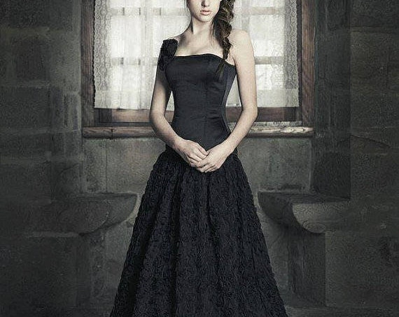Black Wedding Dress, Gothic Wedding Dress, Black Tulle Fantasy Dress, Goth Black Ball Gown, Steampunk Corset Wedding Dress, Dark Queen Dress