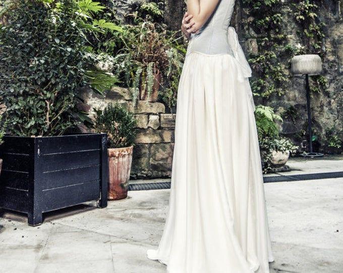 Silk Chiffon Bridal Separates Skirt, Pagan Wedding Dress, Elven Wedding Skirt, Fantasy Wedding Gown, Country Boho Natural Silk Wedding Skirt