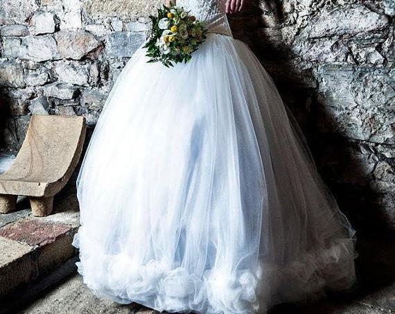 Steampunk Wedding Skirt, Ivory Tulle Skirt, Fantasy Wedding Dress, Fairy Bridal Skirt, Princess Wedding, White Gothic Wedding, Ball Gown