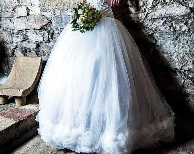 Steampunk Wedding Skirt, Gothic Bridal Tulle Skirt, Fantasy Ball Wedding Gown, Steampunk Fantasy Bridal, White Tulle Ball Skirt, Steampunk