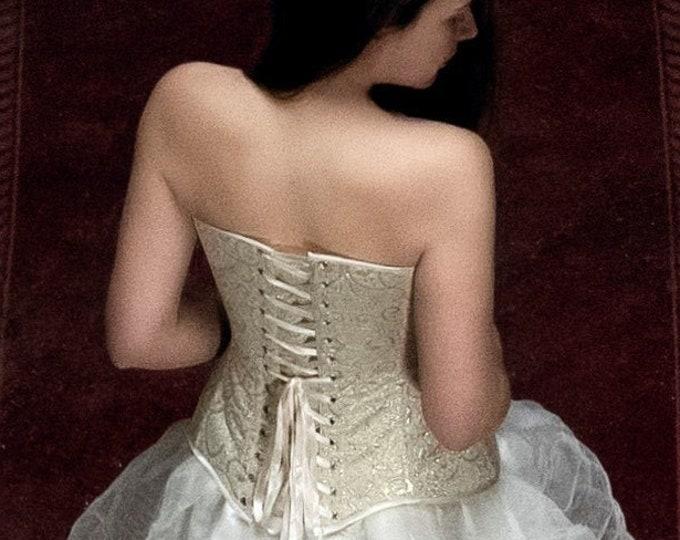 Gold Wedding Corset, Gold Corset Top, Wedding Top Corset, Victorian Gold Gown, Victorian Ball Corset, Bridal Corset Dress, Ball Gown Corset