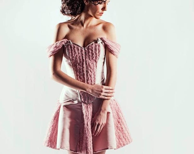 Short pixie fairy wedding dress off shoulder, Lolita pink fantasy corset dress for fairytale bridal, Sweet mini gown cocktail haute couture