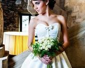 Short wedding dress - Ivory satin corset and skirt - Alternative wedding dress - Modern bride - Wedding corset dress