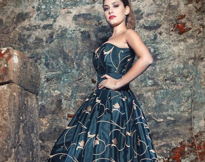 Steampunk Wedding Dress, Gothic Wedding Dress, Black And Gold Maxi Dress, Victorian Wedding Gown, Alternative Wedding,Wedding Corset Dress