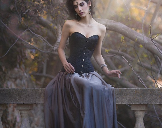Black wedding dress for gothic wedding with black brocade overbust corset and chiffon long skirt perfect bridal separates