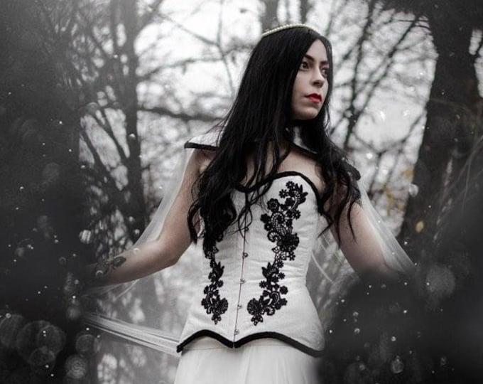 Gothic Wedding Corset, Black And White Corset, Steampunk Wedding, Bridal Separates, Bridal Bustier Top, Fantasy Wedding Gothic Wedding Dress