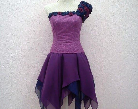 Purple Fantasy Prom Dress, Purple Formal Dress, Fairy Fantasy Dress, Fairytale Dress, Lolita Chiffon Dress, Forest Fairy, Woodland Dress