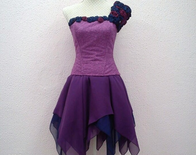 Fantasy short wedding dress, Purple fairy dress, Fairytale wedding gown, Fantasy wedding corset dress, Sprite pixie dress, Couture costume