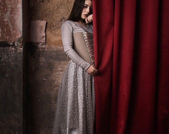 Minimalist grey pagan wedding dress with long sleeves, Modern viking dress for winter ritual, Witch occult maxi dress knitted for halloween