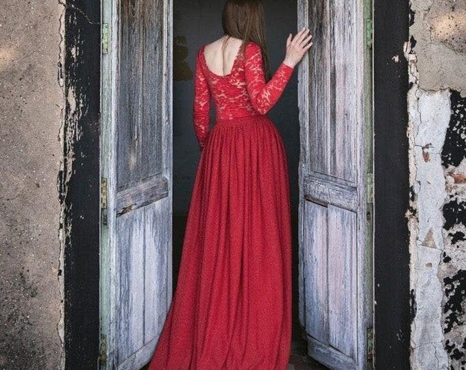 Red Glitter Wedding Dress, Red Lace Dress for Women, Red Bridal Dress, Masquerade Wedding Gown, Red Lace Sleeves, Sparkly Bridal Dress Red