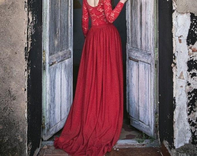 Vampire Masquerade Skirt, Red Glitter Skirt, Vampire Wedding Skirt, Masquerade Dress, Vampire Costume Dress Halloween, Red Bridal Separates