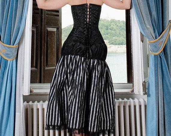 Women Steampunk Skirt, Sale Size S, Striped Skirt, Black Victorian Skirt, Pirate Skirt, Gothic Skirt,Black Taffeta Skirt,Formal Bubble Skirt