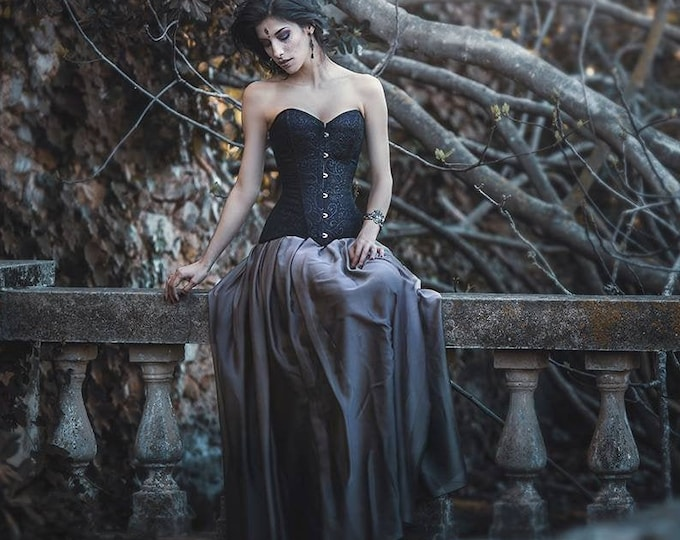 Gothic Wedding Skirt, Medieval Skirt, Grey Chiffon Long Skirt, Dark Fantasy Skirt, Dark Princess Outfit, Black Wedding Dress, Pagan Wedding