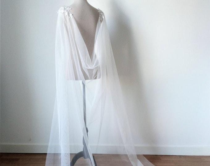 Natural White Tulle Wedding Cape Veil for Viking Wedding or Pagan Wedding Dress