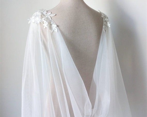 Natural White Tulle Wedding Cape Veil for Viking Wedding or Pagan Wedding Dress