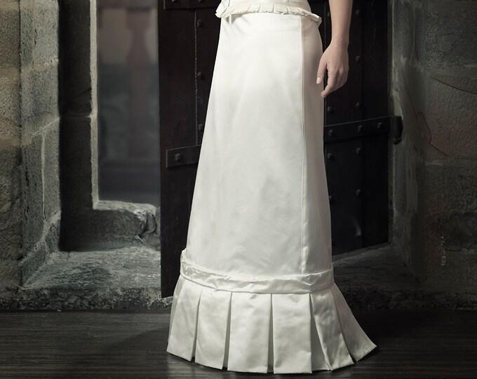 Ivory Silk Satin Skirt, Steampunk Wedding Dress, Modern Wedding Dress, Futuristic Skirt, Wedding Skirt,Alternative Wedding,Extravagant Skirt