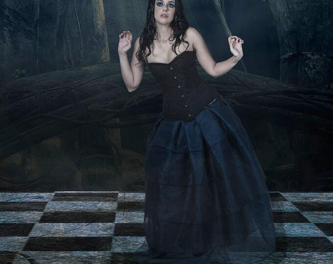 Dark blue organza skirt for dark alice costume or halloween wedding vampire dress, Midnight blue maxi gothic ball gown skirt, Elven fantasy